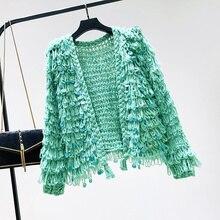 Crochet point ouvert Cardigan gland paillettes câble tricot pull manteau coréen en vrac tricoté Cardigan femmes manteau court pull