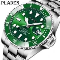 mens watches business pladen top brand green quartz luxury watch full steel waterproof dive luminous clock rel%c3%b3gio masculino