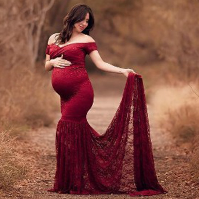 Maternity Trailing Long Dress For Photo Shoot Pregnant Women Pregnancy Dress Photography Props Off Shoulder Maxi Maternity Gown enlarge