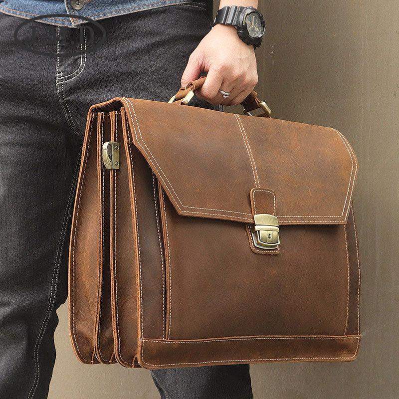 J.M.D Fashion New 100% Genuine Leather Crazy Horse Style Mens Briefcase Laptop Handbag Messenger Bag