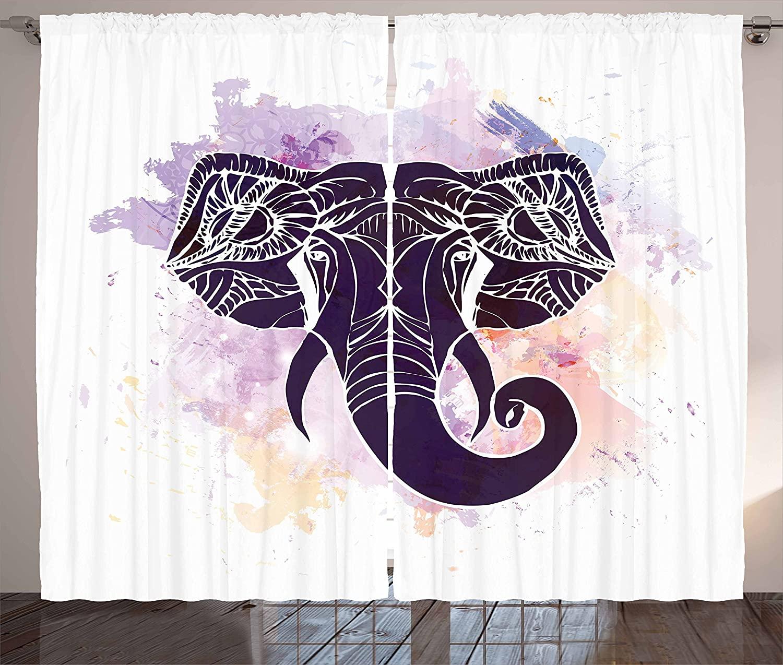 Cortinas de cocina sagradas púrpura oscuro violeta sala de estar dormitorio cortinas de ventana acuarela retrato de cabeza de elefante destacado asiático