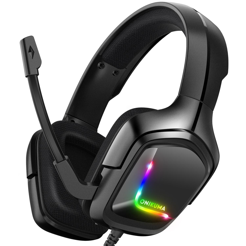 السلكية سماعات للعب HD المحيطي ستيريو الصوت سماعة RGB الخلفية الإفراط في الأذن خفيفة الوزن لعبة سماعة مع ميكروفون