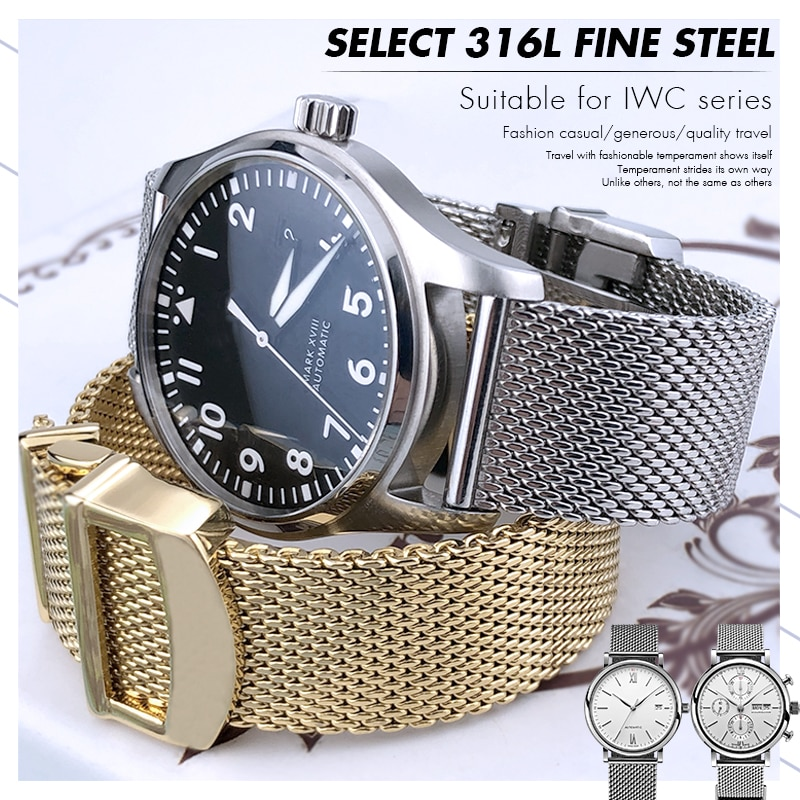 19mm 20mm 21mm 22mm Fine Mesh Stainless Steel Watch Strap Men Watch Band for IWC PILOT Mark PORTUGIE