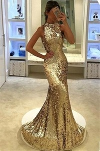 Gold/silver Sequins Mermaid Evening Dresses Round Neck Sleeveless Sparkly Dress Robe De Bal Longue Backless Plus Party Gowns