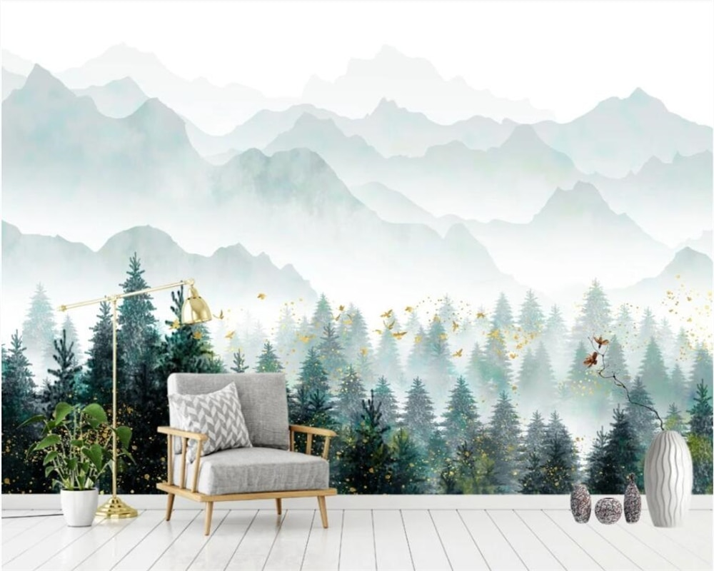 beibehang papel de parede New Chinese style forest cedar bird artistic conception nordic style background wallpaper beibehang new papel de parede 3d wallpaper chinese style simple wallpaper relief dream watercolor lotus lotus background tapety