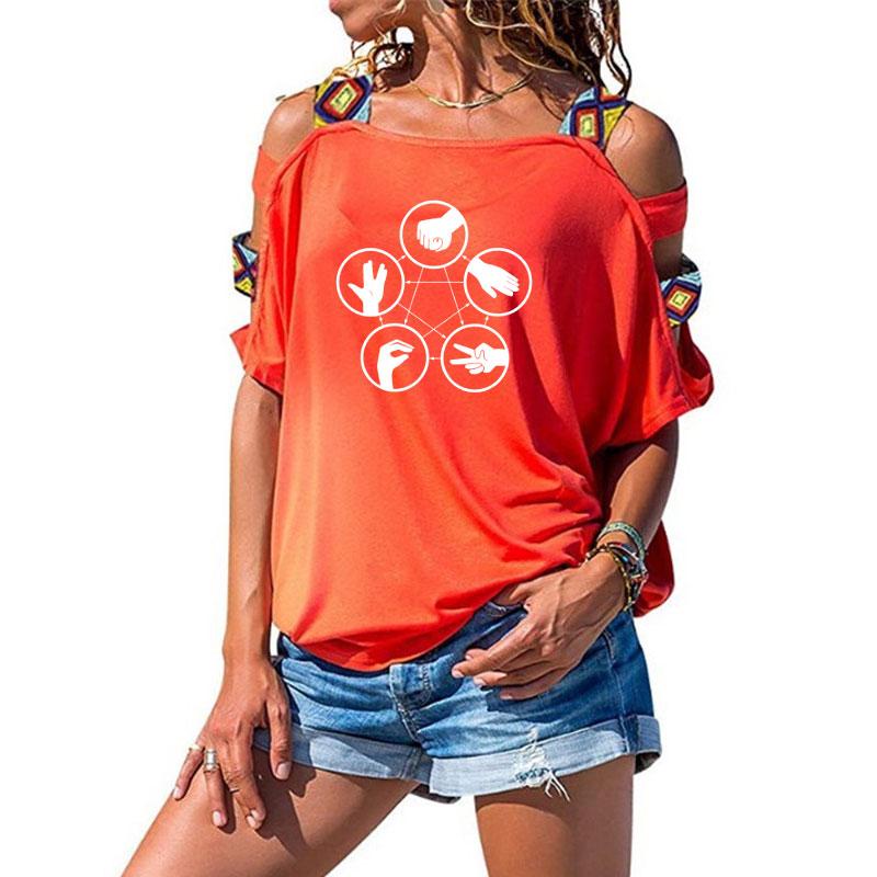 The Big Bang Theory Mulheres Camiseta Sheldon Mora finger-guessing game Tops de Manga Curta T-shirt de Algodão Feminino