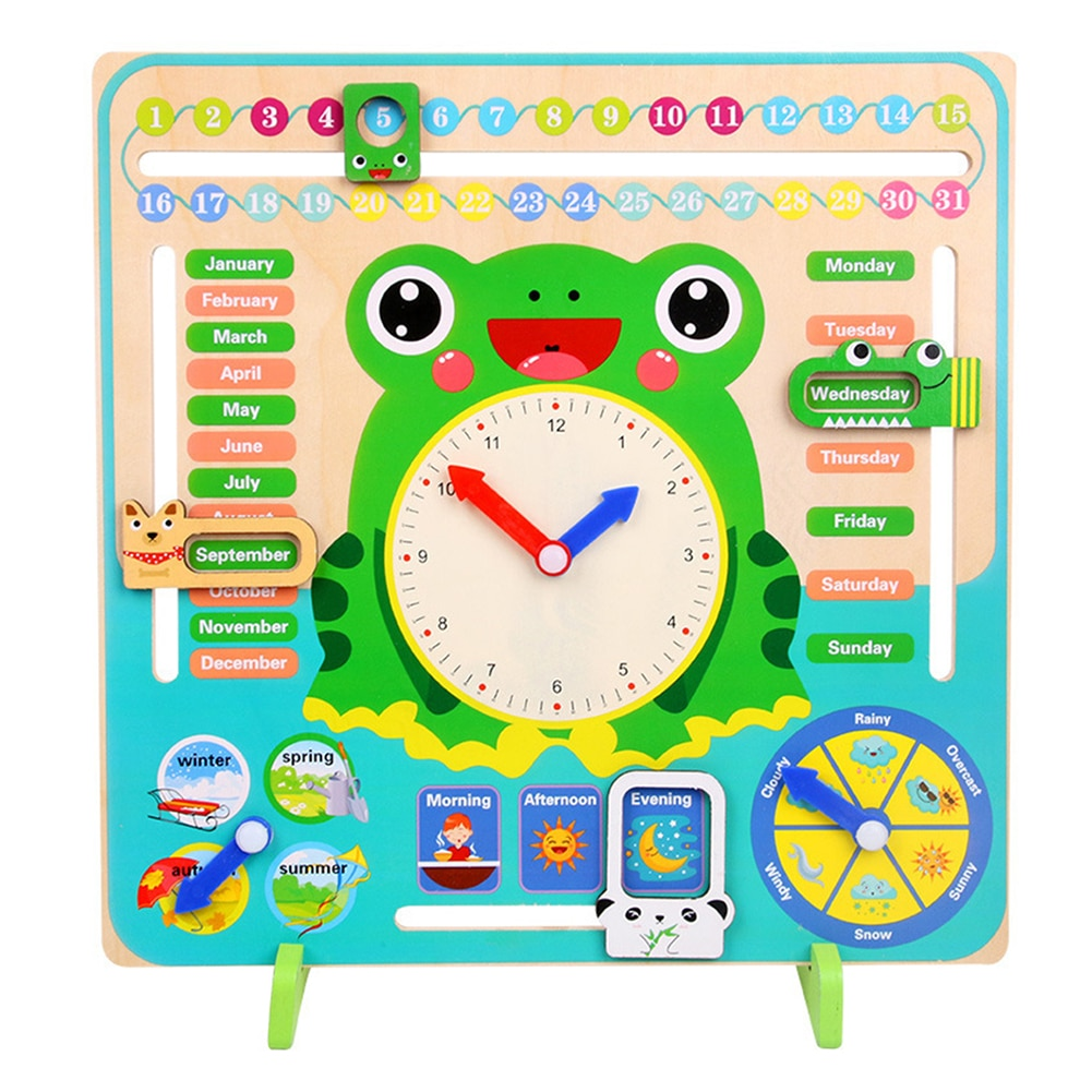 Children Cartoon Animal Wooden Calendar Clock Set Time Cognition Early Educational Toys for Kids Boys Girls Brithday Gifts