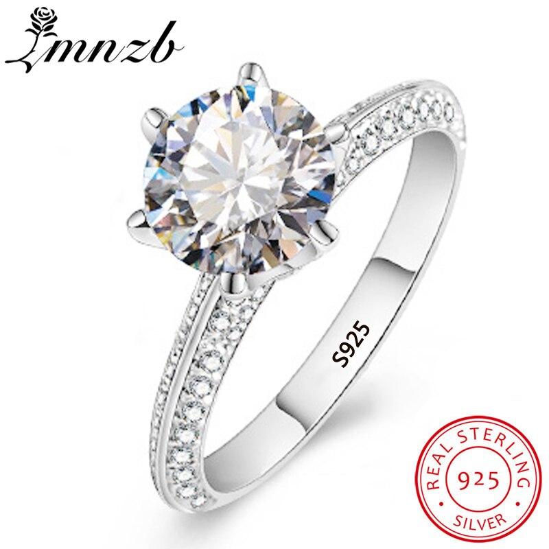 Anillos de plata de ley 925 100% auténtica LMNZB de lujo de zirconia DE BODA CZ, anillos de compromiso para mujeres, joyería fina, regalo LRX279