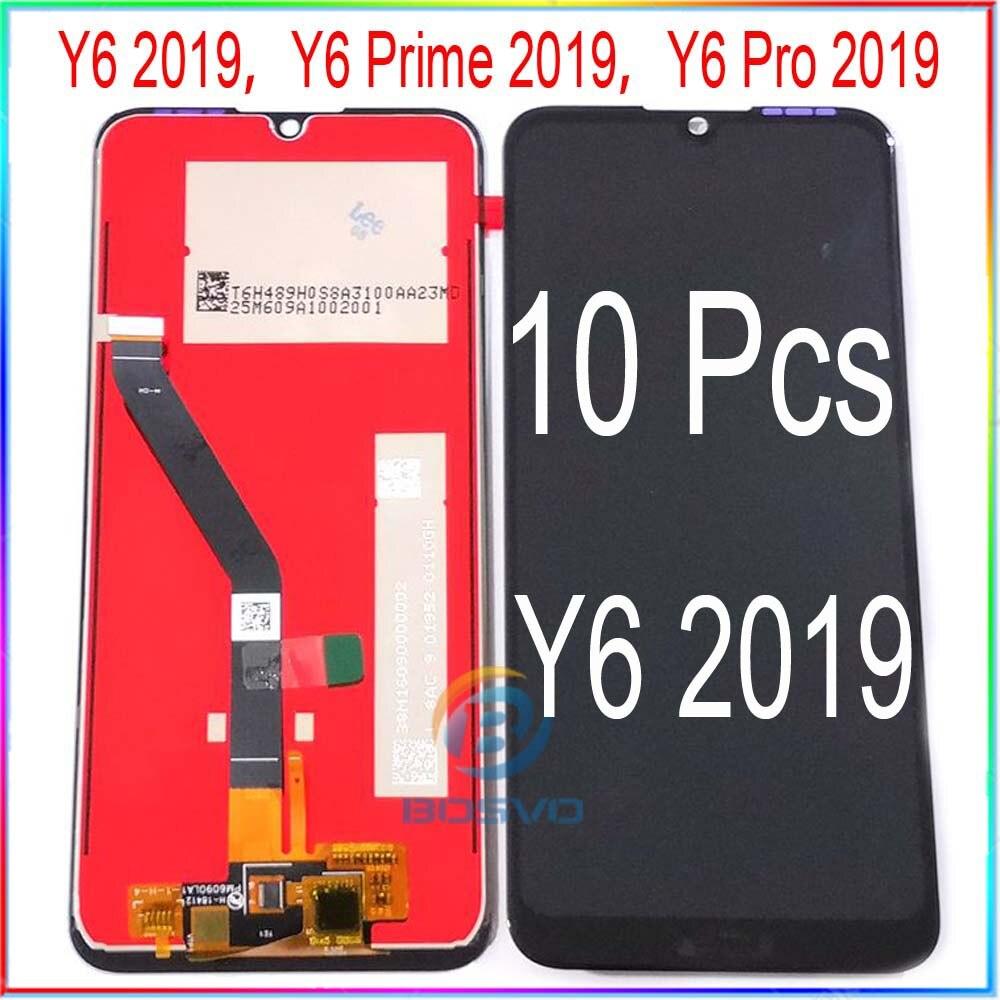 Venta al por mayor 10 unids/lote para Huawei Y6 2019 LCD Y6 primer 2019 Y6 Pro 2019 con pantalla táctil con el marco de la Asamblea