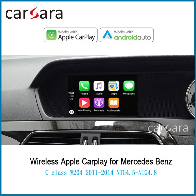 Merce des sem fio carplay android auto para c classe w204 airplay phonelink caixa 2011- 2014 ntg4.5 sistema de interface de controle de voz