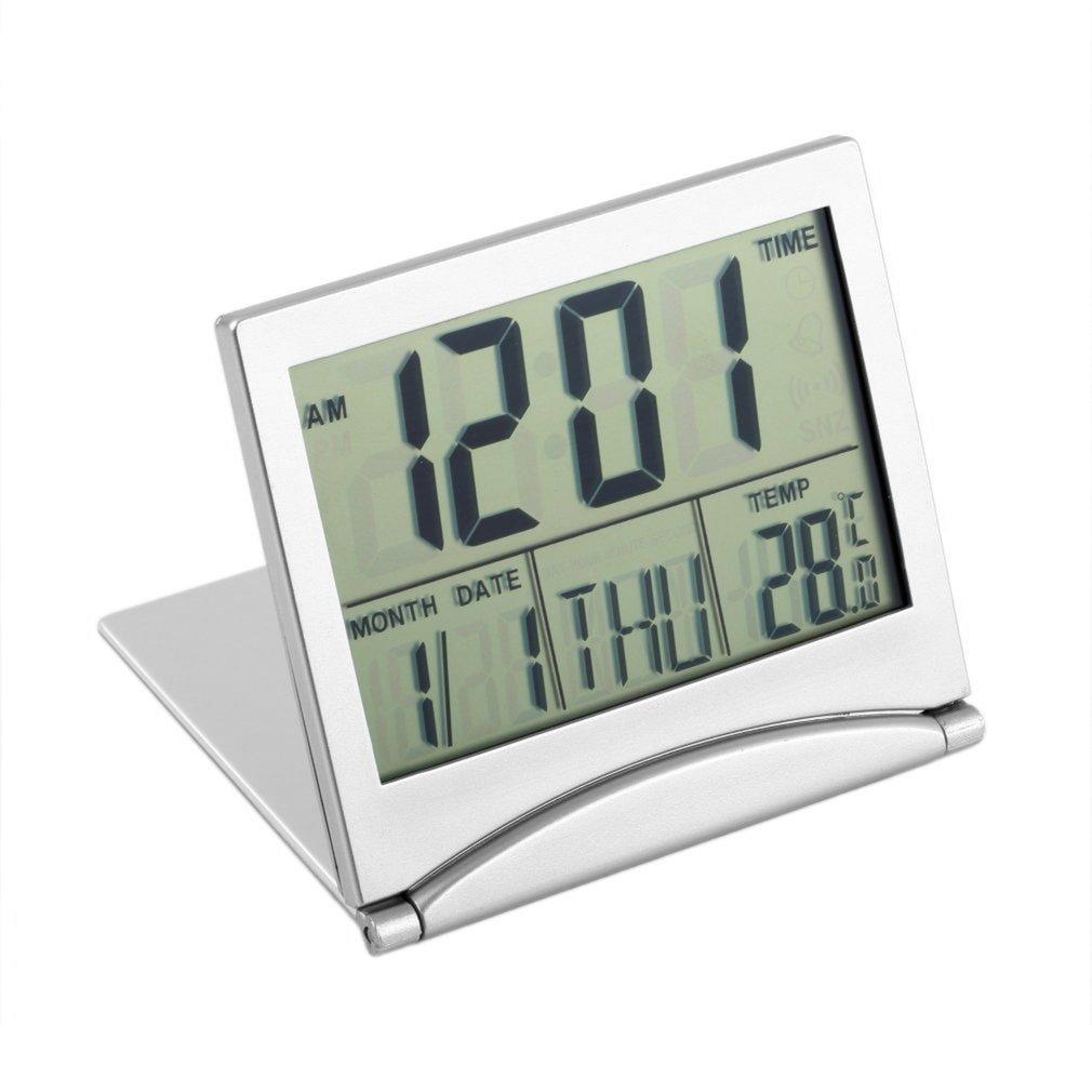 Reloj de alarma con pantalla LED plateado, termómetro Digital, calendario, pantalla, fecha, escritorio, mesa, reloj, pantalla, Datum, Tafel, Klok, plateado