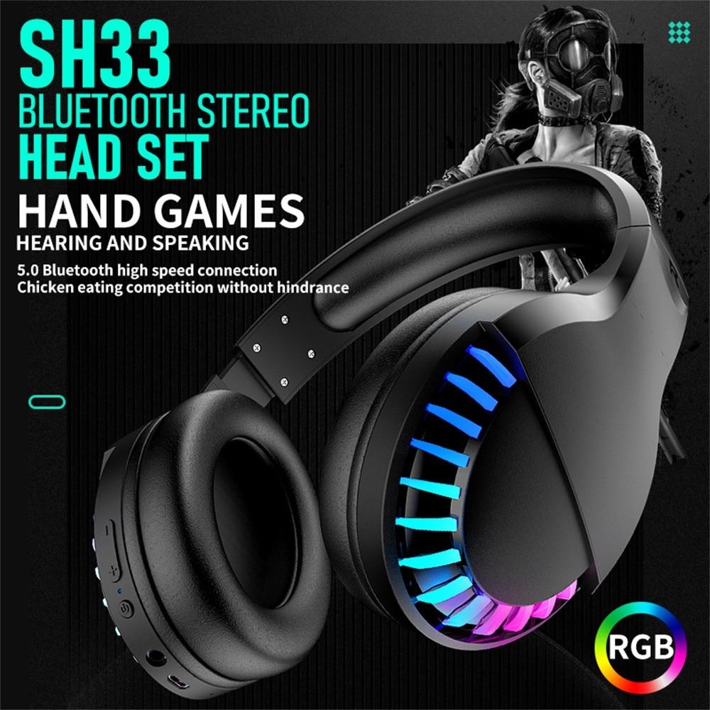 SH33 auriculares de juego competitivos con doble modo Bluetooth V5.0 inalámbrico/con cable RGB auriculares plegables estéreo con cancelación de ruido