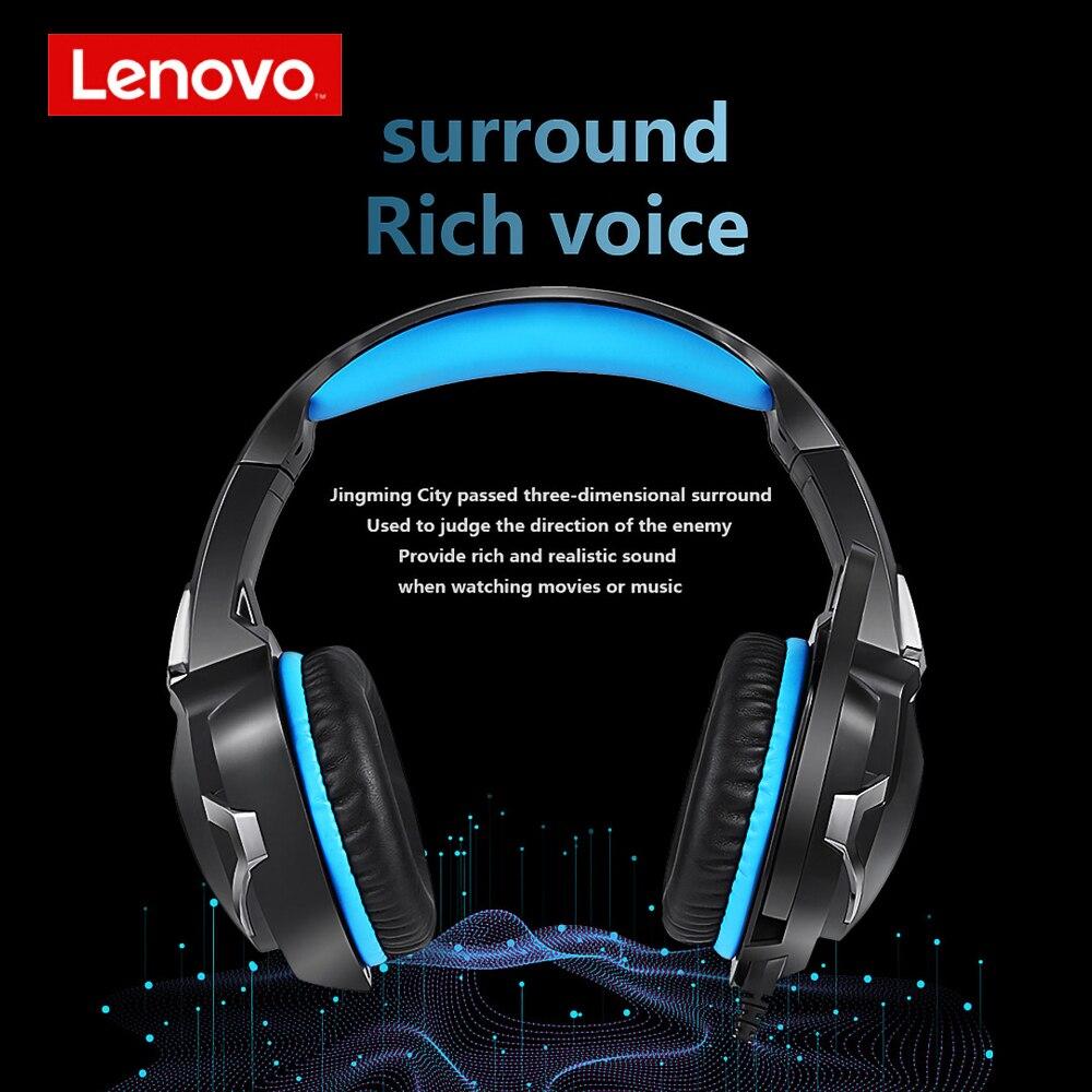 Original lenovo hs15 jogos fone de ouvido com cancelamento de ruído 3.5mm fones de ouvido com fio estéreo surround 50mm chifre conduziu a luz com microfone para pc