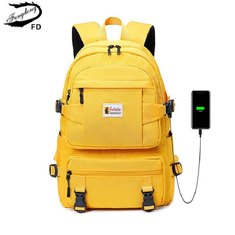 Fengdong fashion yellow backpack children school bags for girls waterproof oxford large school backp