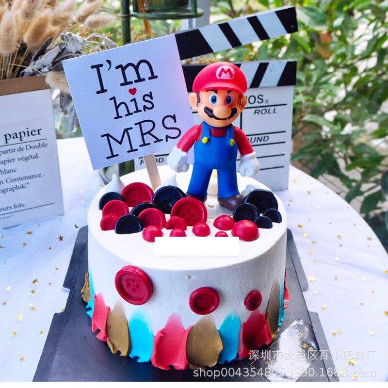 Новинка, аниме фигурка Марио, украшения для торта, пекарни, ins стиль, Супер Марио, ручная работа, модель украшения для кукол 11 см, аниме Декор