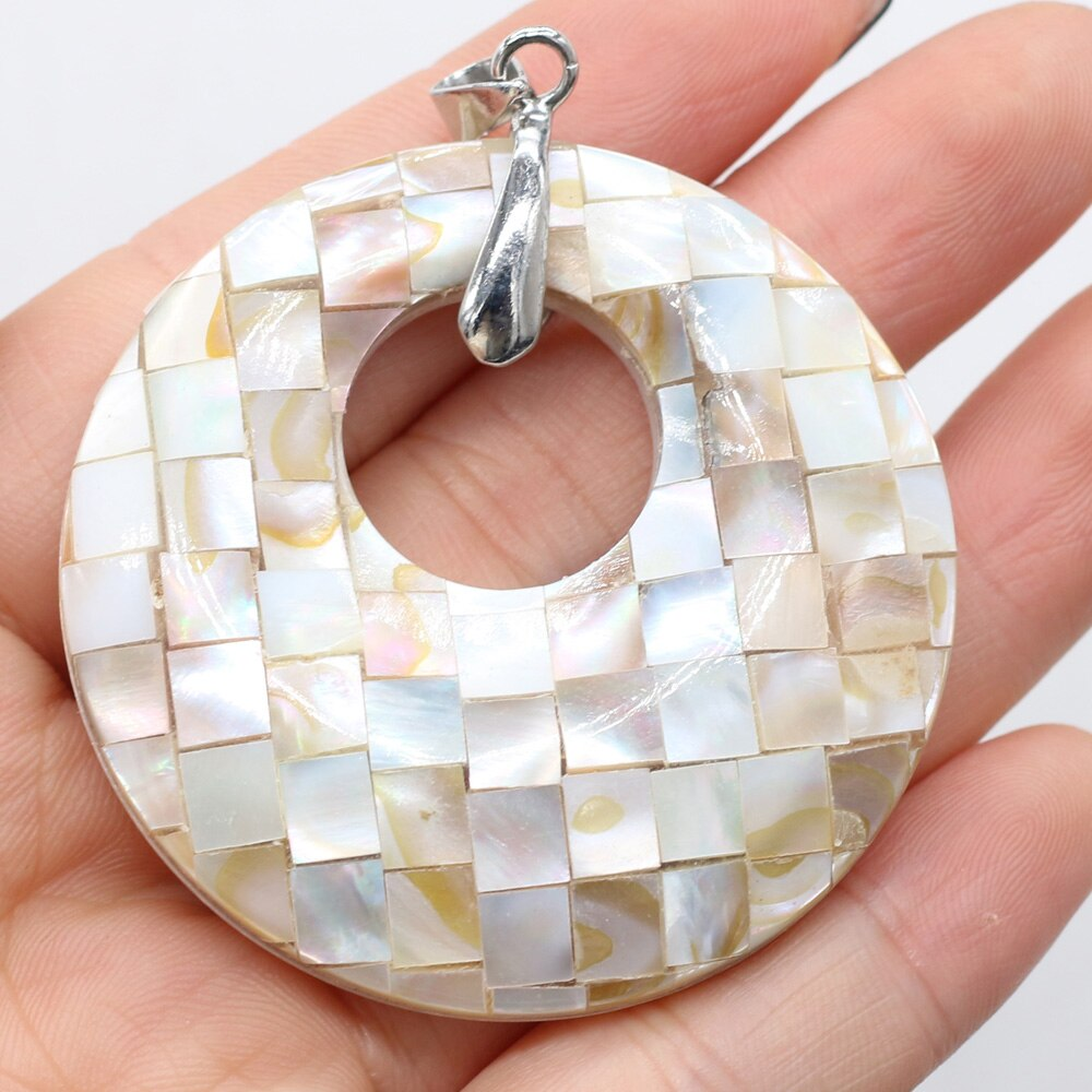 Charms Natural Abalone Shell Pendant Fashion Round Shell Pendant for Women Making DIY Jewelry Accessories Gift 50x50mm  - buy with discount
