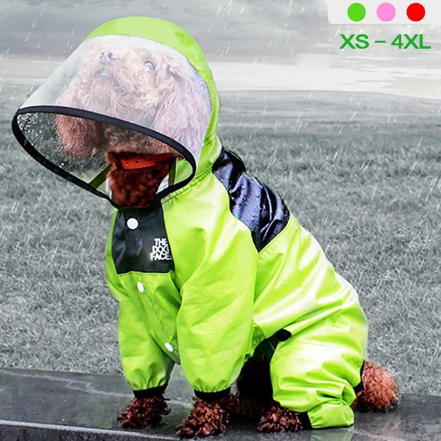 Pet Dog Raincoat The Dog Face Pet Clothes Jumpsuit Waterproof Dog  Jacket Dogs Water Resistant Clothes for Dogs Pet Coat