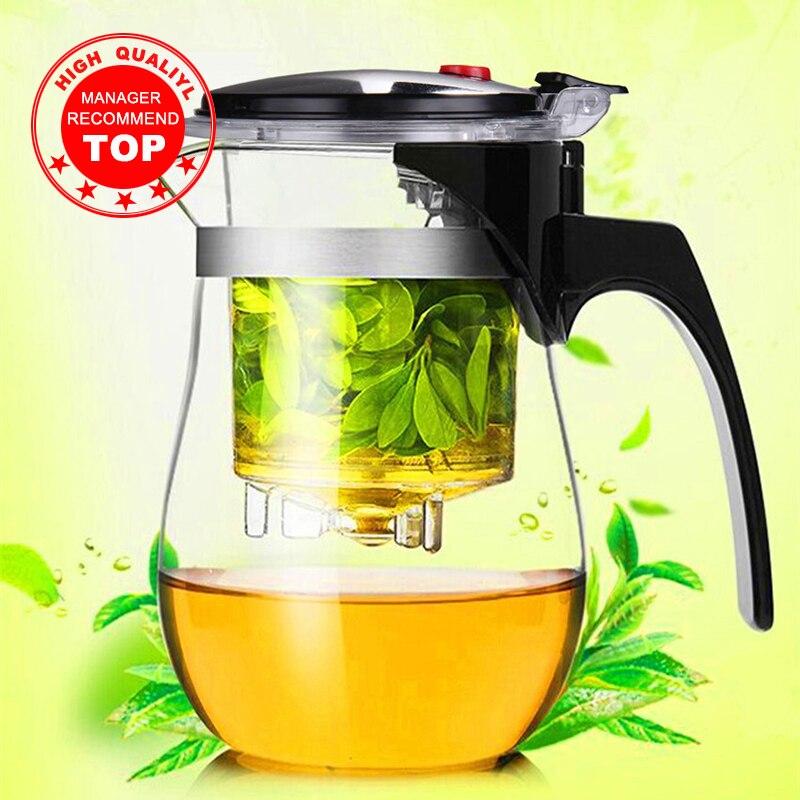Высококачественный стеклянный чайник, термостойкий, китайский чайный набор, кунг-фу, пуэр, чайник, кофейник, стеклянная кофеварка, удобный офисный чайник