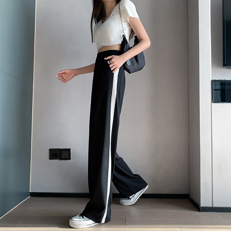 Yg Brand Women's 2021 Spring New Straight Pants, Loose High Waist Landing Pants, With Ribbon Casual