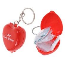 Masque de premiers soins Portable en plein air avec clapet anti-retour Mini porte-clés boîte en plastique fournitures de premiers soins