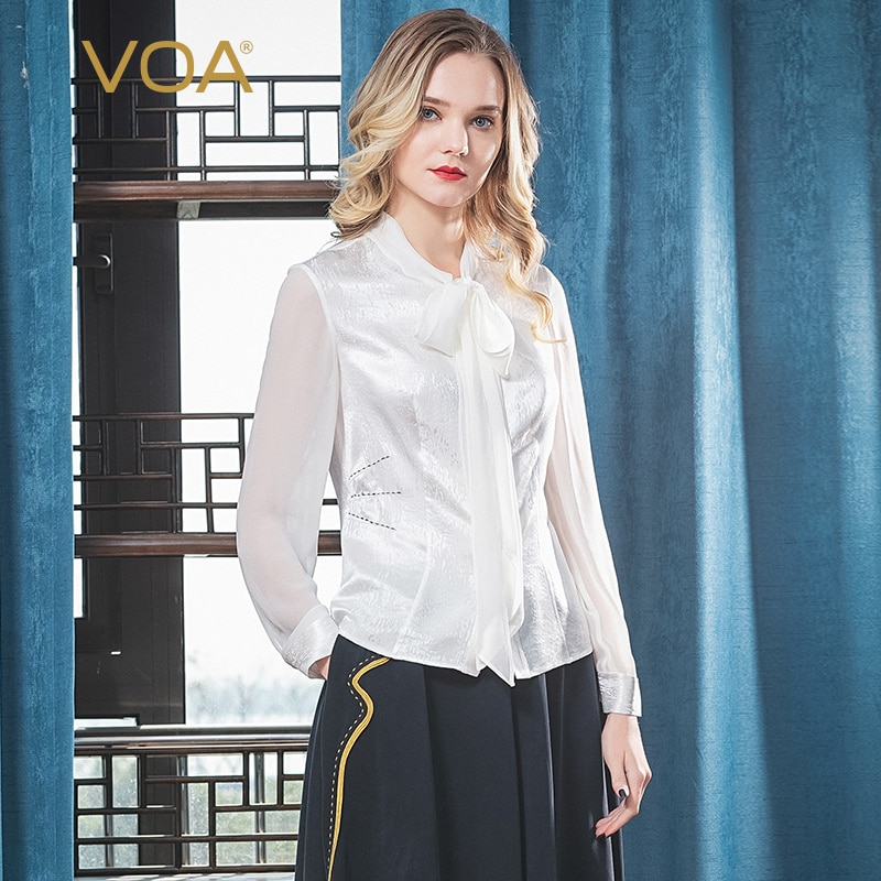 VOA seda pura blanca Jacquard cuello pico manga larga colisión empalme cinta arco costura cintura ajustada moda camisa B9386