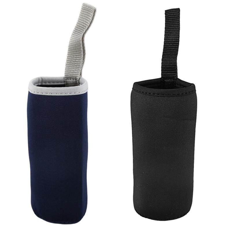 2x taza de neopreno tapa de aislamiento térmico para taza soporte de cubierta de botella de agua (360Ml negro y azul marino)