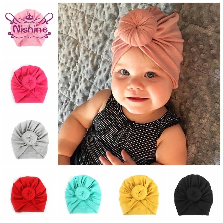 Nishine Baby Turban Hat with Bow Children Hats Cotton Blend Newborn Beanie Top Knot Caps Kids Headwear Photo Props Shower Gift