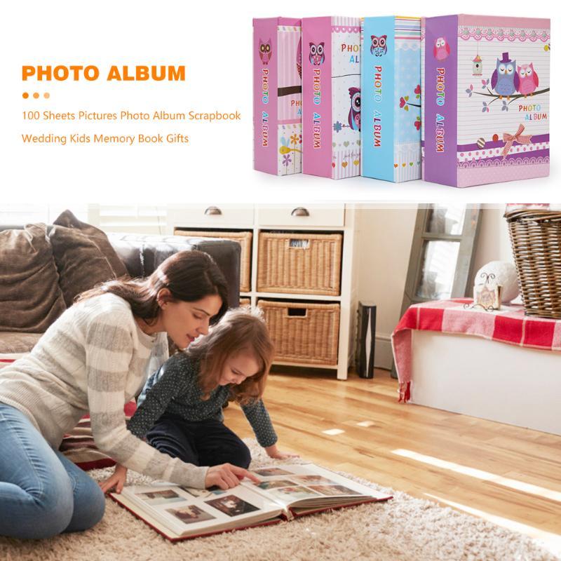 Álbum de fotos DIY Personal 100 hojas familia boda fotos almacenamiento caso dibujos animados búho chica imprimir libro de memoria 12x16.5x5cm