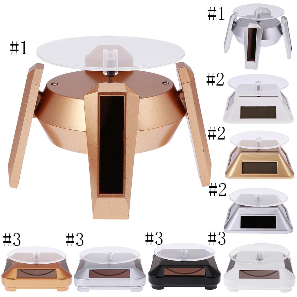 Soporte de pantalla giratorio de 360 °, Base tocadiscos giratorios, funciona con energía Solar/batería, 4 colores a elegir