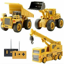 Hotty oyuncak Mini RC inşaat kamyonu römork araba traktör ekskavatör Model buldozer vinç kamyon oyuncak RTR yükleyici uzaktan kumanda