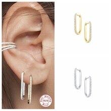 CANNER 100% 925เงินสเตอร์ลิง Big Circle Hoop หูหัวเข็มขัดเจาะต่างหูผู้หญิง Mujer U รูปร่าง Pendientes