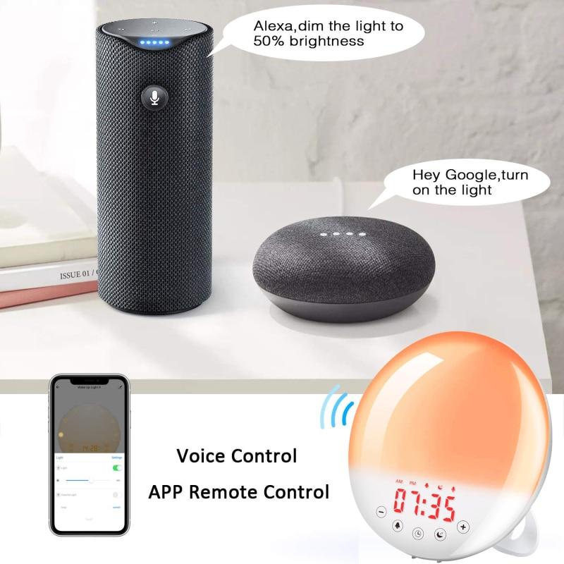 Control de voz inteligente WIFI despertador Digital despertador Luz de mesa LED lámpara reloj electrónico amanecer atardecer alarma