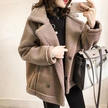 Korean Fashion Women Winter Plush Coat Causal Suede Jacket Turn Down Collar Warm Fleece Thickening O
