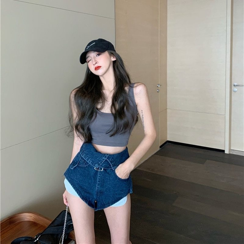 2021 New Blue Wide-legged High-waisted Denim Shorts Straight and Loose Thin A-line Wide-leg Cotton Shorts Summer Jeans Coating  - buy with discount