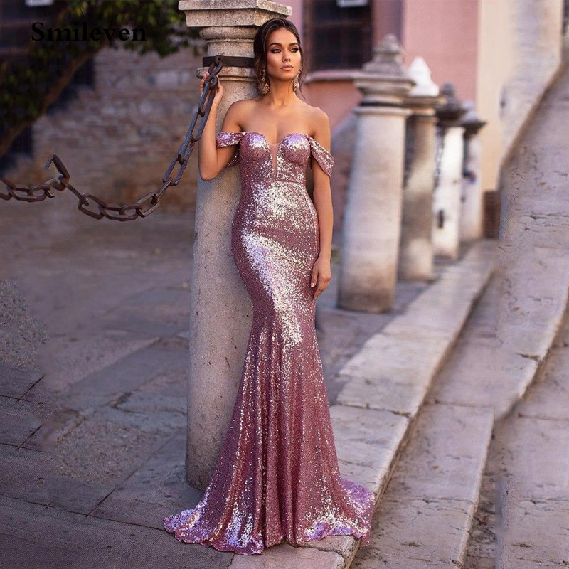 Smileven Pink Sequins Mermaid Evening Dress Long 2020 Off The Shoulder Formal Party Gown robe de soiree Vestido Longo Prom Gowns