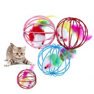 3 шт. кошачьи игрушки мышь шарики Симпатичные забавные игрушки, с изображением котенка, Одежда игры накладные мышки с перьями шарик с крысой клетка игрушка для кошки маленькие животные