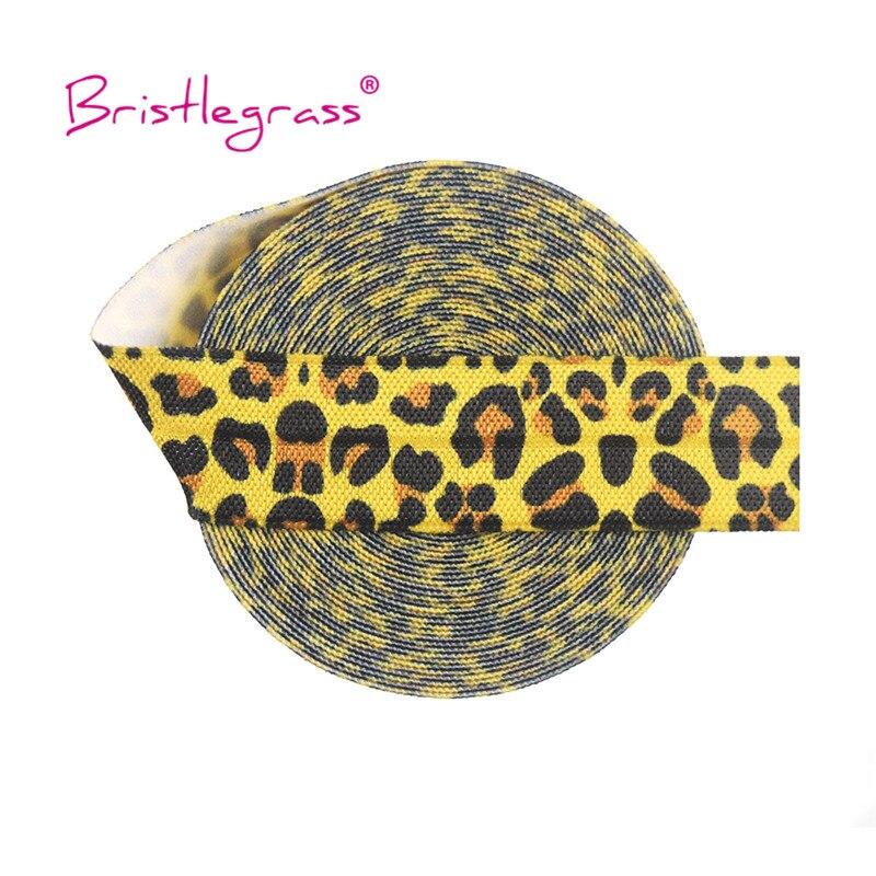 """Bristlegrass 100 quintal por rolo 3/4 """"20mm impressão leopardo amarelo inimigo dobre sobre elástico elastano cetim faixa laço de cabelo vestido costura guarnição"""
