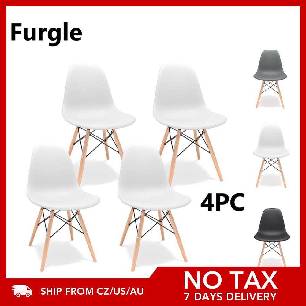 Furgle 4Pcs/Set Dining Chair Nordic Style Office Chair Plastic Kitchen Chairs Wooden Feet Dining Room Sets Living Room Chairs