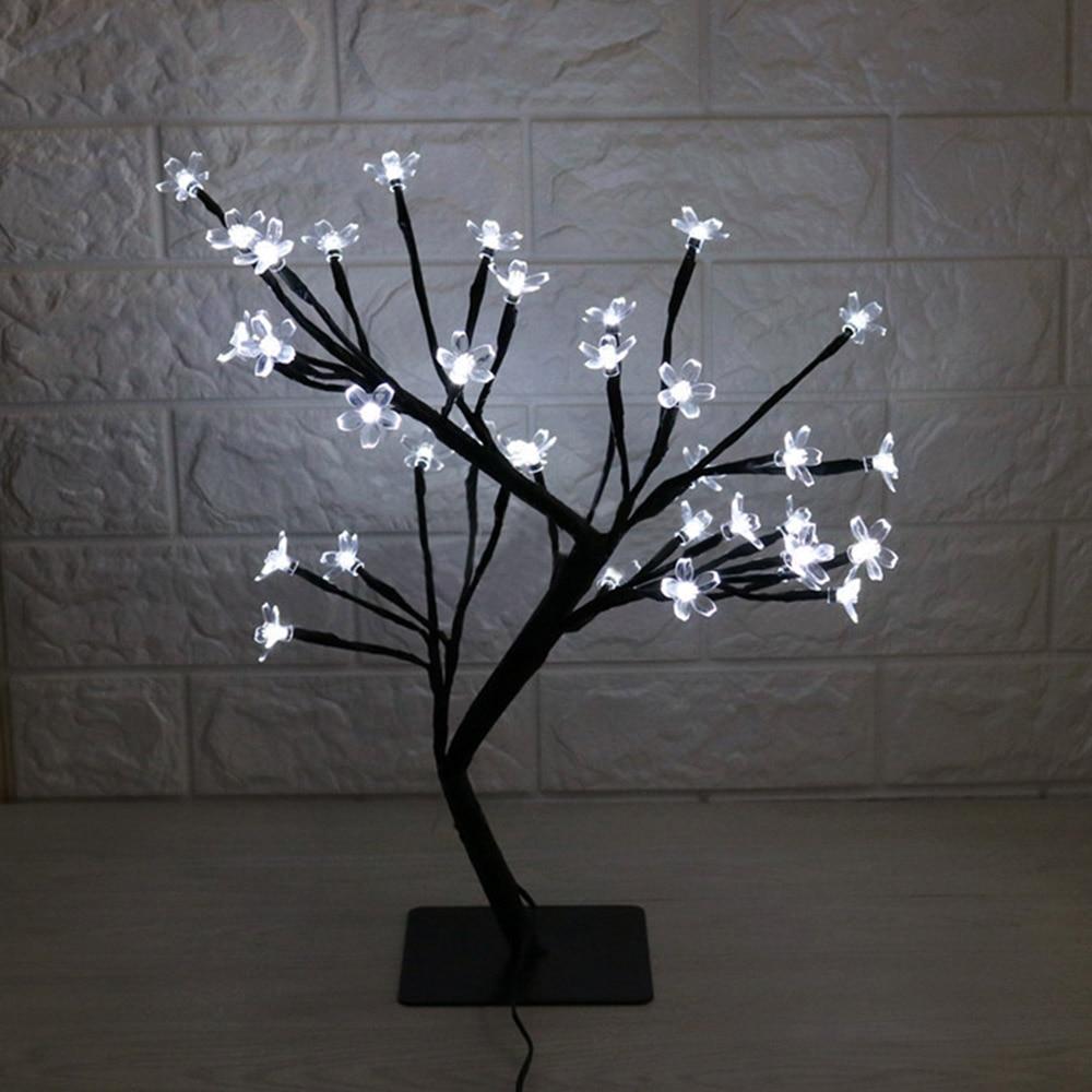 Luces de rama de árbol LED lámpara de flor de cerezo 36 bombillas florero de Navidad café lámpara Floral luz decorativa decoración de Bar de boda