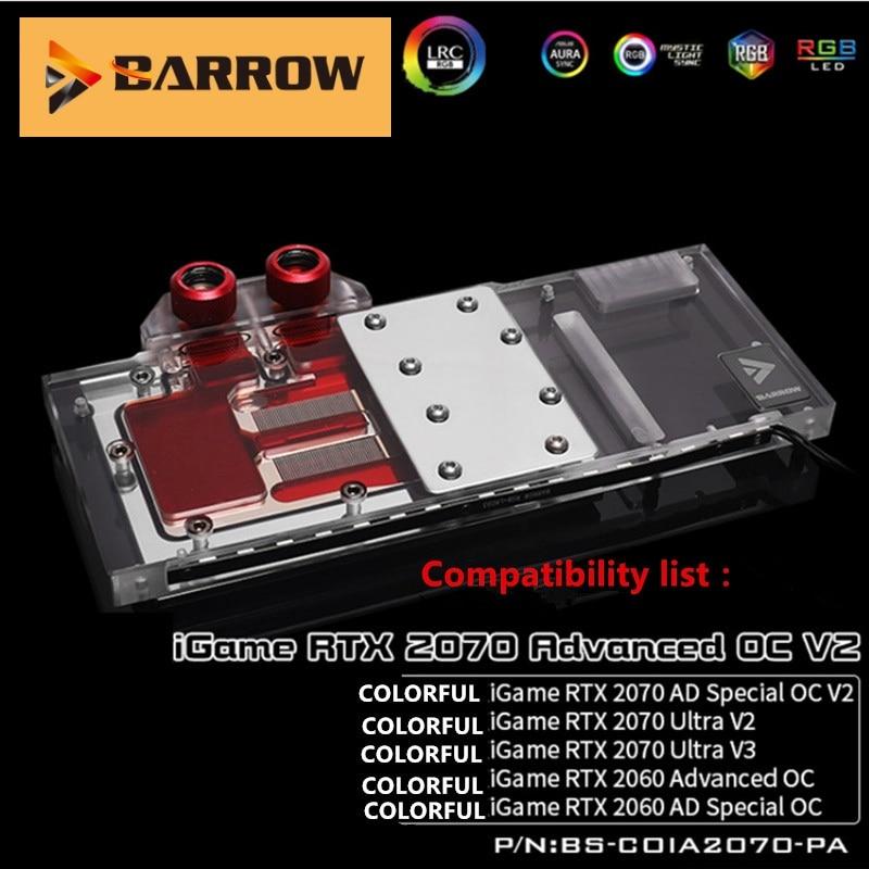 Barrow GPU Cooler BS-COIA2070-PA, tarjeta gráfica de cubierta completa bloques de refrigeración por agua para IGame RTX2070 Avanzado/AD Speical OC