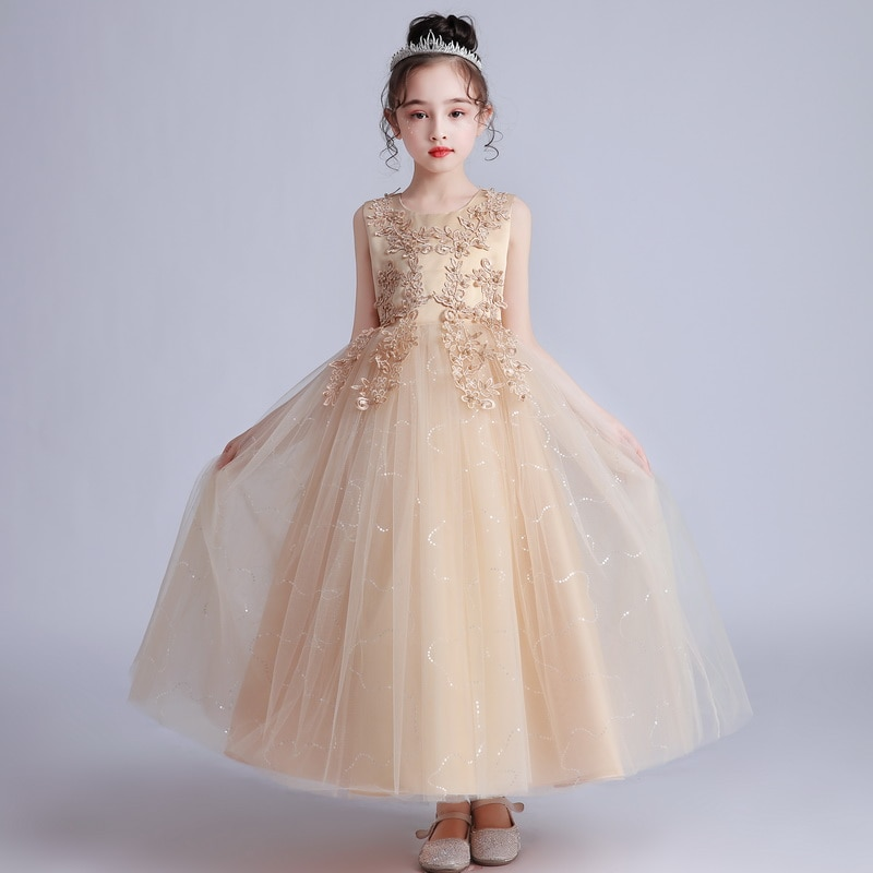 Flower Girls Long Wedding Dress Kids Christmas Dresses Maxi Baby Princess Dress Costume Girls Fashion Birthday Party Dress 5-15Y