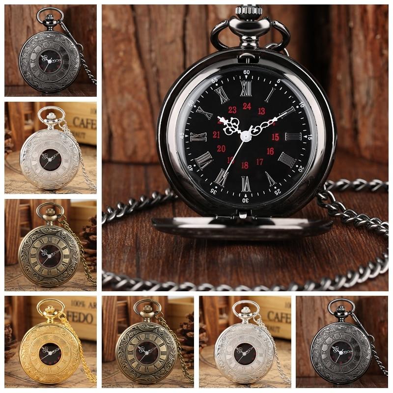 Crni rimski brojevi kvarcni džepni sat muškarci žene crna šuplja - Pocket satovi - Foto 5
