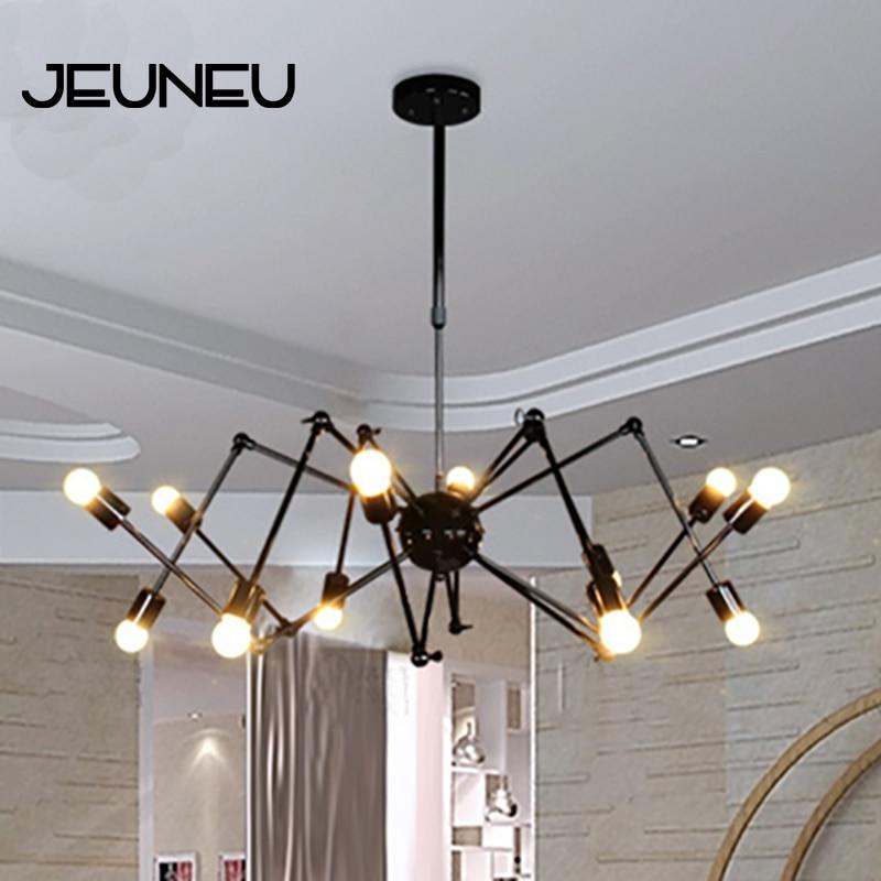 Lámpara colgante de araña negro moderno E27 ajustable Led Art Deco para restaurante Bar café Oficina dormitorio sala de estar
