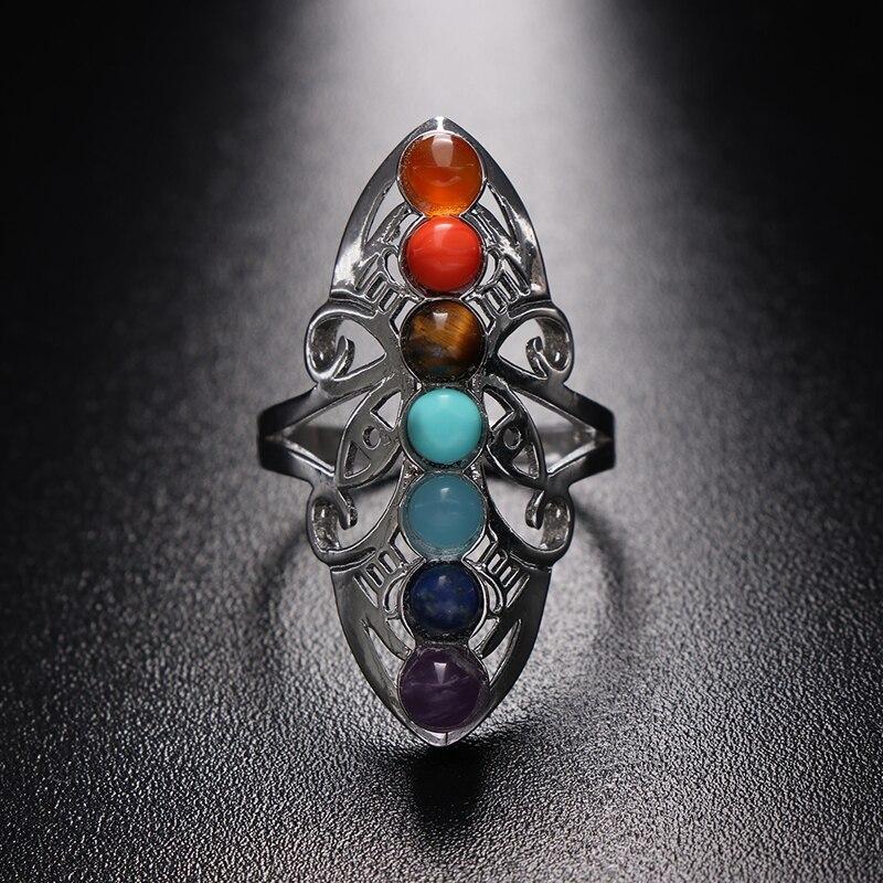 Yoga 7 piedras de Chakra anillo ajustable plateado hueco anillo de pulgar Reiki equilibrio meditación sanación regalo de la joyería