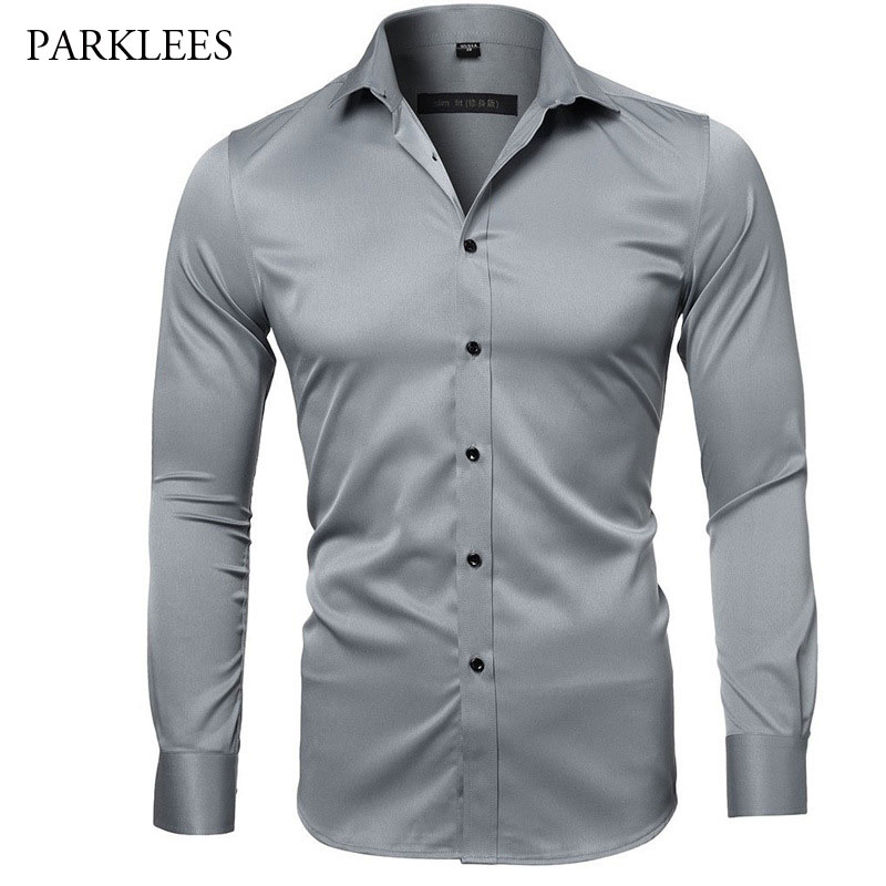 Gray Elastic Bamboo Fiber Shirt Men Brand New Long Sleeve Mens Dress Shirts Non Iron Easy Care Business Work Chemise Homme XXL