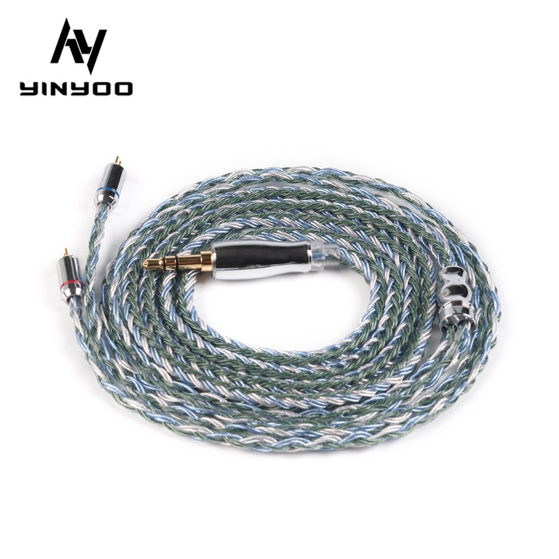 Yinyoo 16 ядерный Модернизированный посеребренный медный кабель 2,5/3,5/4,4 мм с MMCX/2pin/QDC/TFZ для KZ ZS10PRO ZSX BLON BL-03 BL-05 BL05