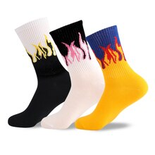Unisexe flamme noir blanc jaune feu Sokken nouveauté Hip Hop Harajuku chaussettes Skateboard Calceines Mujer rue Skarpetki chaussettes