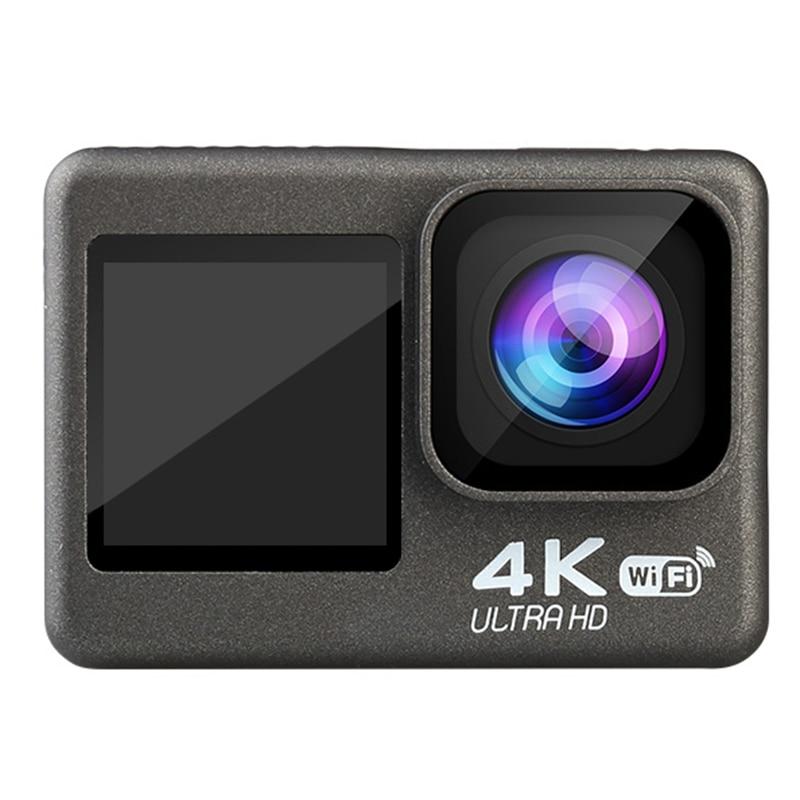 4K / 60Fps 2.0 بوصة + 1.3 بوصة شاشة مزدوجة عمل كاميرا 170 درجة تحت الماء مقاوم للماء خوذة الذهاب الرياضة برو كاميرا تسجيل الفيديو