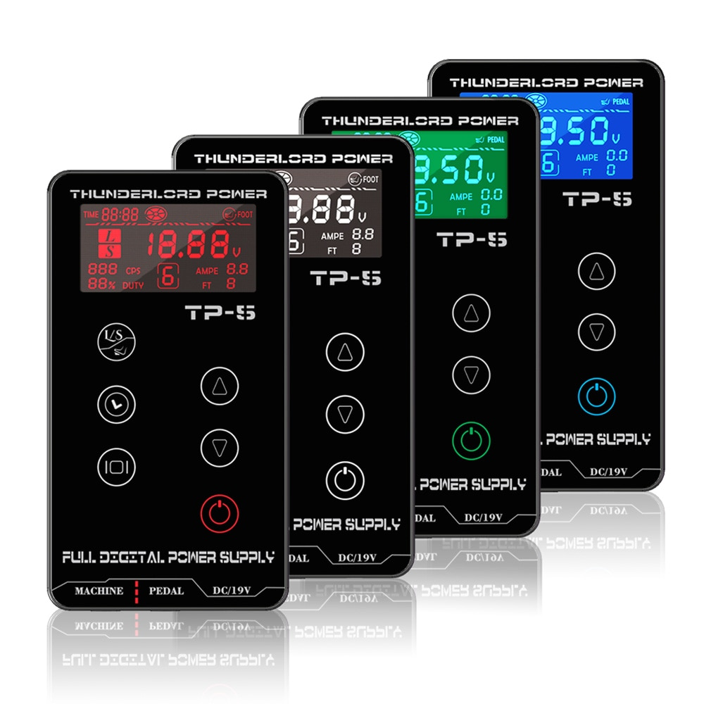 THUNDERLORD TP-5 Digital Tattoo Power Supply LCD Touch Screen Dual Tattoo Power Box For Coil &Rotary Tattoo Machine biomaser professional tp 5 power supply tattoo kits rotary gun lcd tattoo power supply tattoo pen machine set