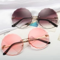 vintage round sunglasses women men 2022 fashion rimless glasses retro pink sun glasses women gradient shades flower sunglasses